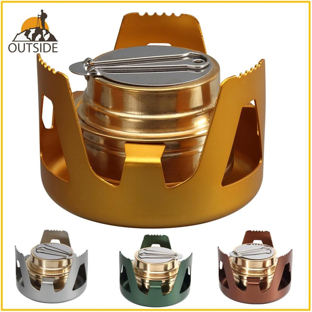 Heavy Duty Brass Stove Burner with Aluminum Alloy Stand Lid for Outdoor Camping Hiking Cooking Portable