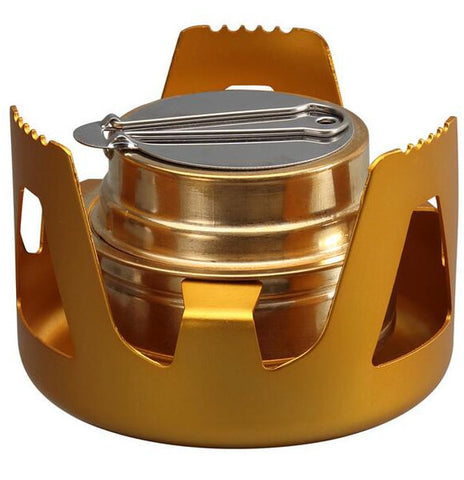Image of Heavy Duty Brass Stove Burner with Aluminum Alloy Stand Lid for Outdoor Camping Hiking Cooking Portable