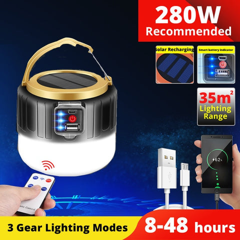 Solar LED Camping Light USB Rechargeable Bulb For Outdoor Tent Lamp Portable Lanterns Emergency Lights For BBQ Hiking