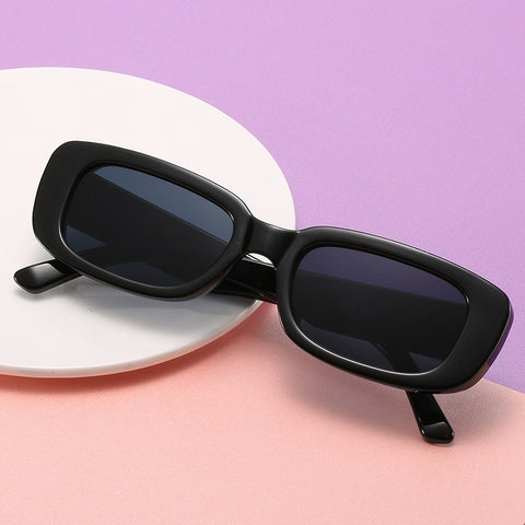 Image of Vintage Black Square Sunglasses Women Luxury Brand Small Rectangle Sun Glasses Female Gradient Clear Mirror