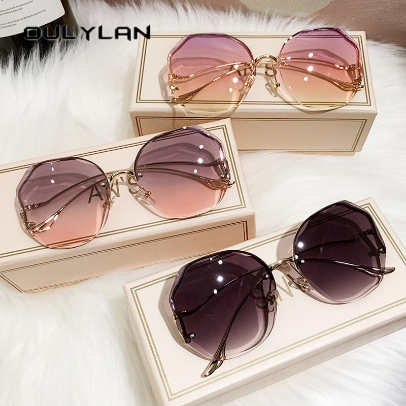 Oulylan Fashion Tea Gradient Sunglasses Women Ocean Water Cut Trimmed Lens Metal Curved Temples Sun Glasses Female UV400