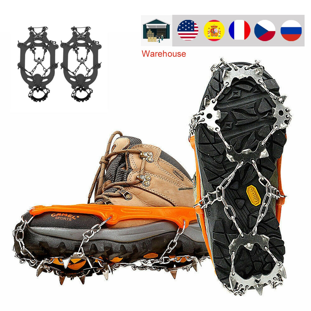 18 Teeth Ice Snow Crampons Anti-Slip Climbing Gripper Shoe Covers Spike Cleats Stainless Steel Snow Skid Shoe Cover Crampon