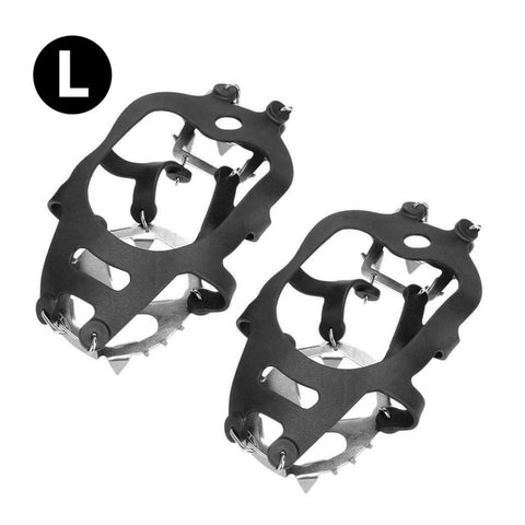 Image of 18 Teeth Ice Snow Crampons Anti-Slip Climbing Gripper Shoe Covers Spike Cleats Stainless Steel Snow Skid Shoe Cover Crampon