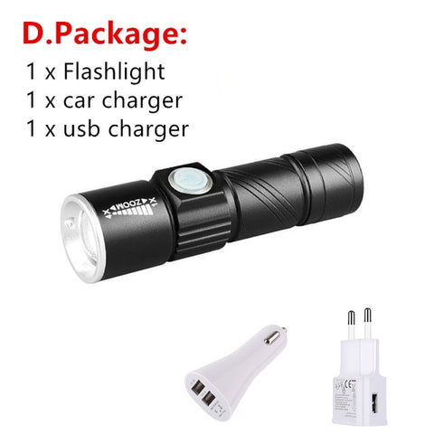 Image of Mini USB XPE Q5LED Flashlight Torch Outdoor Camping Light Rechargeable Waterproof Zoomable Lamp Bicycle 3 Mode Handy Flash Light