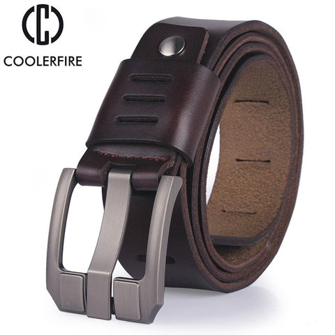 Image of Cowhide genuine leather belts pin buckle Mens Belt Luxury Designer High Quality