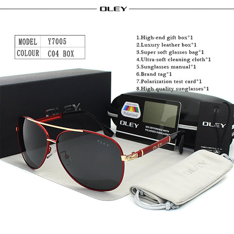 Image of OLEY Luxury sunglasses men polarized Classic pilot Sun glasses fishing Accessories driving goggles