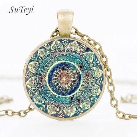 Image of SUTEYI Vintage Glass Dome Necklace Buddhism Chakra Glass Cabochon Pendant Jewelry Om India Yoga Mandala Necklaces For Unisex
