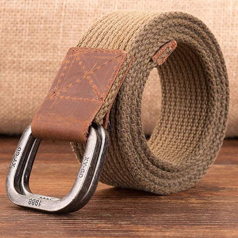Image of YBT Unisex Canvas belt retro washed Alloy double ring buckle canvas belt casual fashion Men cowboy pants women Belt