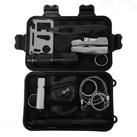 Camping survival kit Set  10 in 1 Outdoor  tourism Multifunction First aid SOS EDC Emergency Supplies for survival