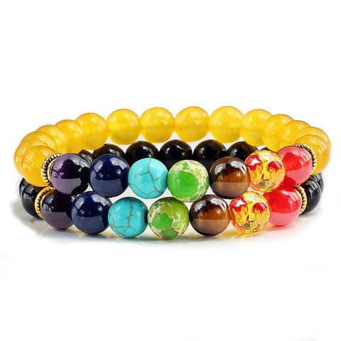 Image of Natural 2Pcs/Set Natural Stone 7 Chakra Bracelets & Bangles Lava Healing Yoga Balance Beads Reiki Buddha Prayer Bracelet Jewelry