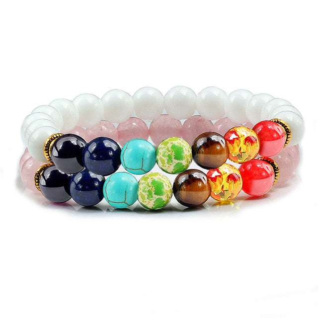 Natural 2Pcs/Set Natural Stone 7 Chakra Bracelets & Bangles Lava Healing Yoga Balance Beads Reiki Buddha Prayer Bracelet Jewelry