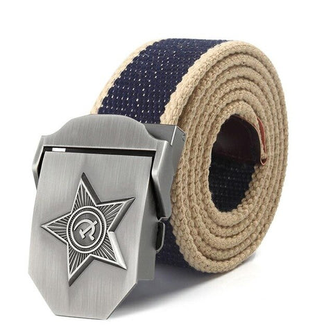 Image of SupSindy Men & Women High Quality 3D Five Rays Star Military Belt Old CCCP Army Belt Patriotic Canvas Belts