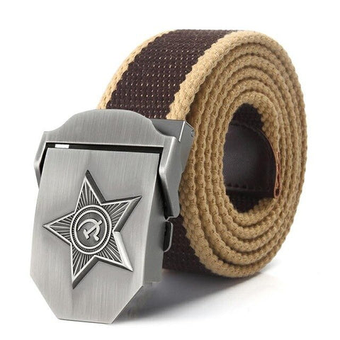 SupSindy Men & Women High Quality 3D Five Rays Star Military Belt Old CCCP Army Belt Patriotic Canvas Belts