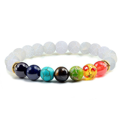 Image of Natural Stone Tiger Eye 7 Chakra Bracelets & Bangles Yoga Balance Beads Buddha Prayer Elastic Bracelet Men pulseira masculina