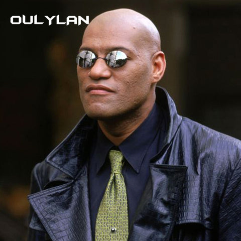 Image of Oulylan Matrix Morpheus Round Rimless Sunglasses Men Classic Clamp Nose Sun Glasses Mens Mini Frameless Brand Design Glasses