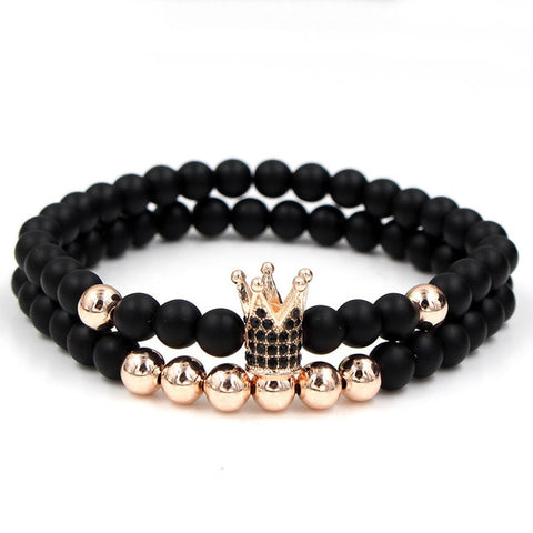 Fashion 2PCS/Set Couple His Hers 6mm Stone Bead CZ Crown Bracelet Men Charm Strand Bracelet Handmade Men Wristband Jewelry Gifts