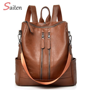 Leather Women Backpack Casual School Backpack For Teenager Girl Large Capacity Multifunction Bag