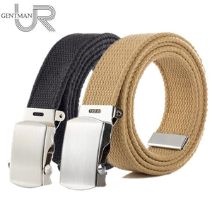 High Quality Canvas Belt Men And Women Jeans Belt Top Casual Luxury Strap 3 Colors 130cm Long Metal Buckle Belts