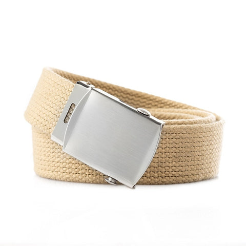 Image of High Quality Canvas Belt Men And Women Jeans Belt Top Casual Luxury Strap 3 Colors 130cm Long Metal Buckle Belts