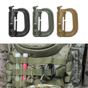 Shackle Carabiner Army D-ring Clip Molle Webbing Plasctic Backpack Buckle Snap Lock Grimlock Camping Hiking Outdoor