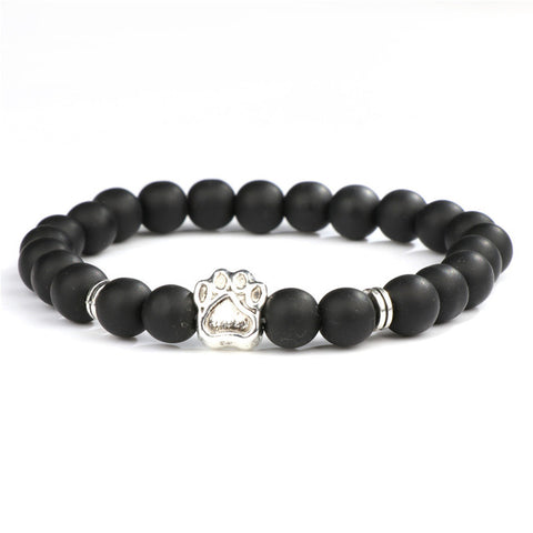 Natural Stone Mala Bead Yoga Bracelet Pitbull Dog Hand Paw 8mm Elastic Rope Bead Bracelet Fashion Men Women Jewelry