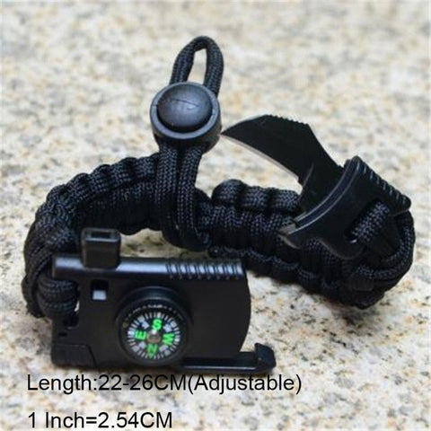 Image of Bracelet For Men Outdoor Camping Rescue Paracord Survival Parachute Cord Multifunctional Braided Rope Adjustable Knife Whistle