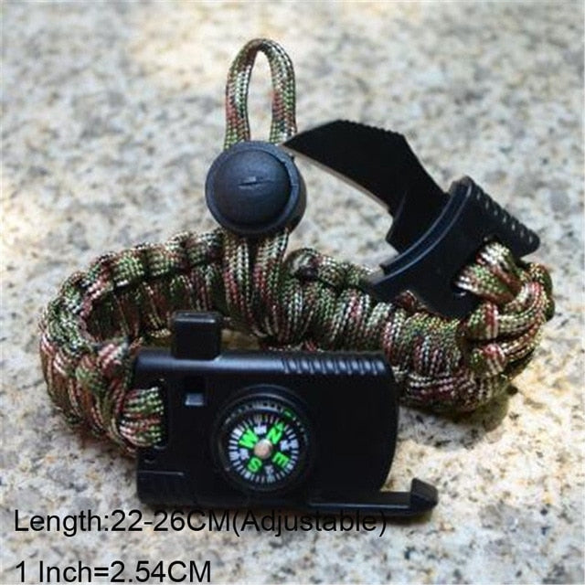 Bracelet For Men Outdoor Camping Rescue Paracord Survival Parachute Cord Multifunctional Braided Rope Adjustable Knife Whistle