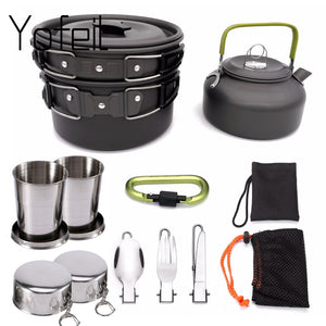 1 Set Outdoor Pots Pans Camping Cookware Picnic Cooking Set Non-stick Tableware  With Foldable Spoon Fork Knife Kettle Cup