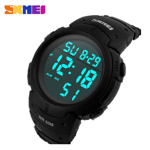 SKMEI Outdoor Sport Watch Men Big Dial Fashion Simple Watches Calendar PU Strap 5Bar Waterproof Digital Watch