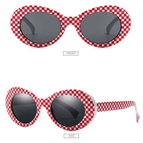 Women Clout Goggles Glasses Men Fashion Sunglasses Oval Sun Glasses Black White Red Eyewear UV400