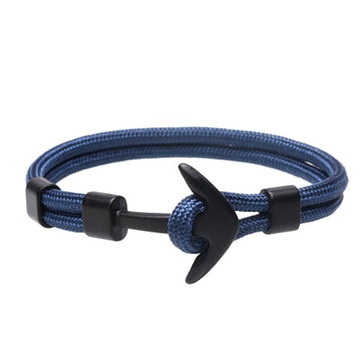 Anchor Bracelet Men Charm Survival Rope Chain Bracelets Paracord Fashion Black Color Anchor Bracelet Male Wrap Metal Sport Hooks