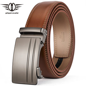 Plyesxale Brown Automatic Buckle Belt Men Genuine Cow Leather Belts Elegant Formal Belt