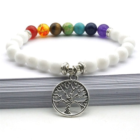 Tree of Life Charms Seven Chakras Stone Beads Bracelet Black stone Rainbow Beads Stretch Yoga Strand Jewelry