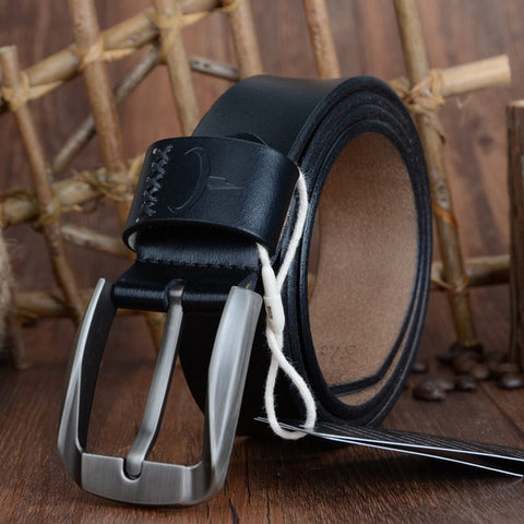 COWATHER Vintage style pin buckle cow genuine leather belts for men 130cm high quality