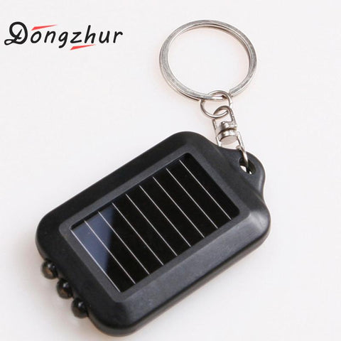 Image of Black Mini Portable Solar Power 3 LED Light Keychain Keyring Torch Flashlight Outdoor Emergency Light Tools