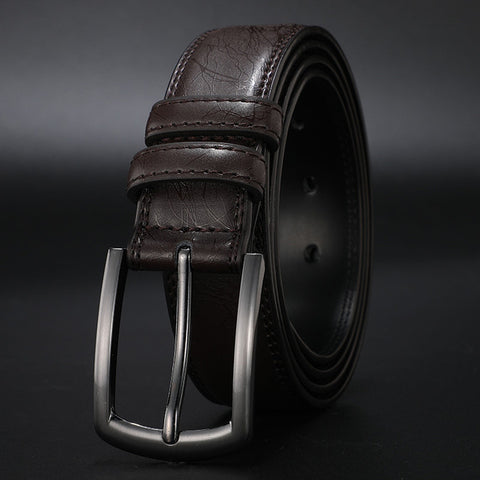 Image of Fashion Men's Genuine Leather Belts Designer Belt for Man Pin Buckle with Leather Strap Business Dress Male Belts