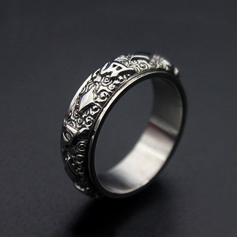 Fashion Rotatable ethnic totem Round Pattern Rings silver Color Stainless Steel Jewelry For Women man Gift Top Quality