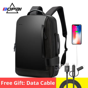 BOPAI Enlarge Backpack USB External Charge 15.6 Inch Laptop Backpack Men Anti-theft Waterproof Travel Backpack