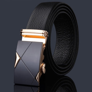 Mens Fashion Belt PU Leather Automatic Buckle Black Belt Designer Casual Business Male Belts Luxury 3.5 CM
