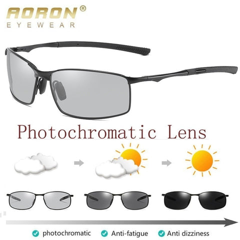 Image of AORON Polarized Photochromic Sunglasses Mens Transition Lens Driving Glasses Male Driver Safety Goggles