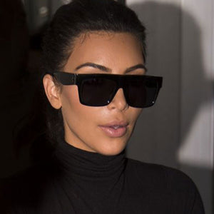 Fashion Vintage Designer Lady Big Square Sunglasses Women Kim Kardashian Rivet Eyewear Flat Top Black Sun Glasses Female