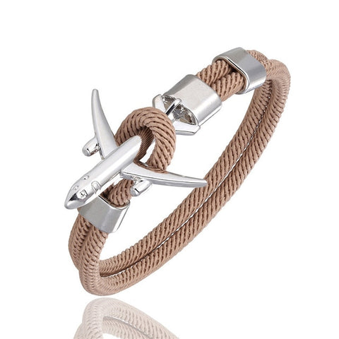 Fashion Airplane Anchor Bracelets Men Charm Rope Chain Paracord Bracelet Men or Women Air force style Wrap Metal Sport Hook