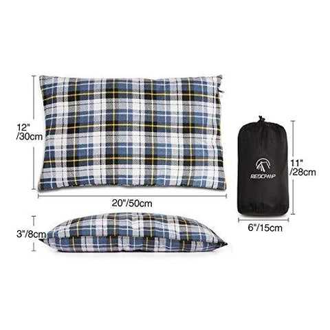 Image of REDCAMP Outdoor Camping Pillow Lightweight, Flannel Travel Pillow Cases, Removable Pillow Cover