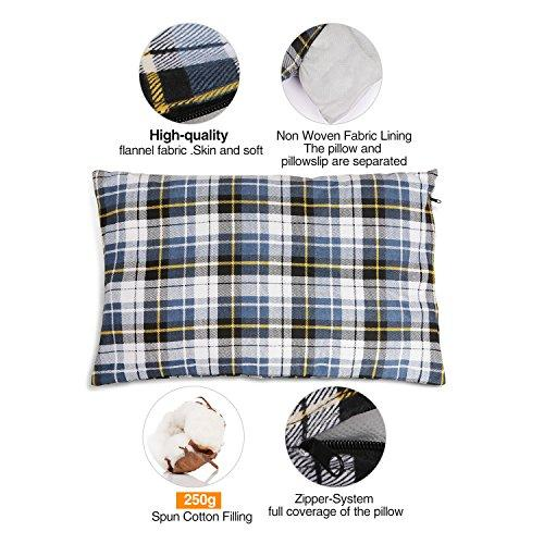 REDCAMP Outdoor Camping Pillow Lightweight, Flannel Travel Pillow Cases, Removable Pillow Cover