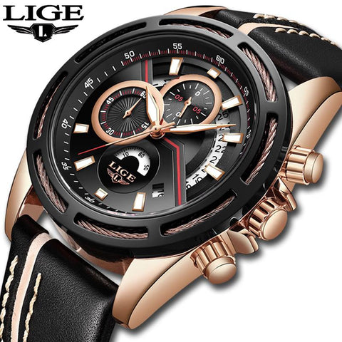Image of Relogio LIGE Mens Watches Top Brand Luxury Men's Military Sports Watch Casual Leather Waterproof Quartz Watch Relogio Masculino