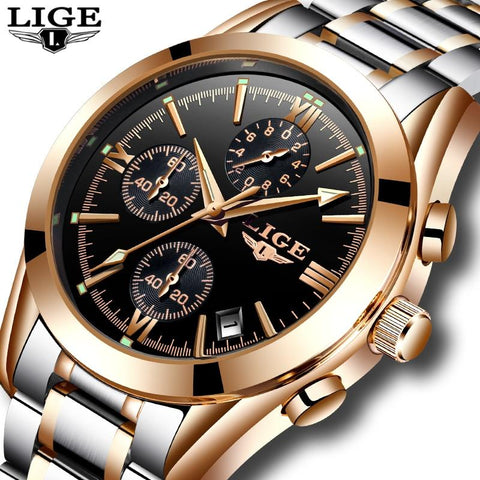 Image of Relogio Masculino LIGE Men Top Luxury Brand Military Sport Watch Men's Quartz Clock Male Full Steel Casual Business Gold Watch