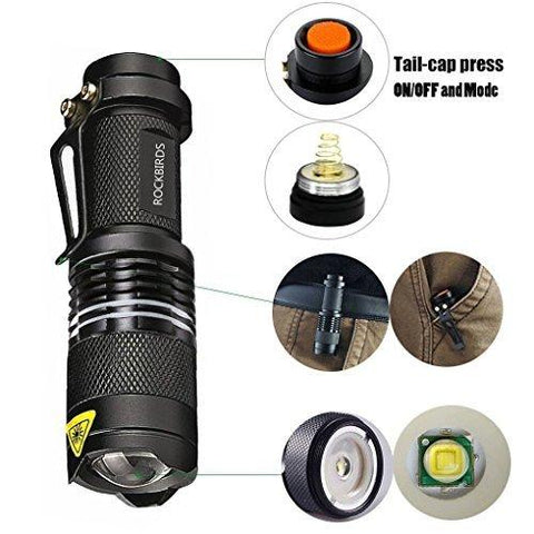 Image of RockBirds LED Flashlights, Bright 3 Modes Small Aluminum Flashlight