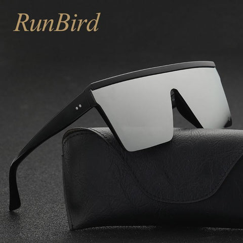 Image of RunBird Brand Fashion Black One Piece Sunglasses Men Oversize Driving Cool Sun Glasses Square Male Oculos Gafas Eyewear 5121R