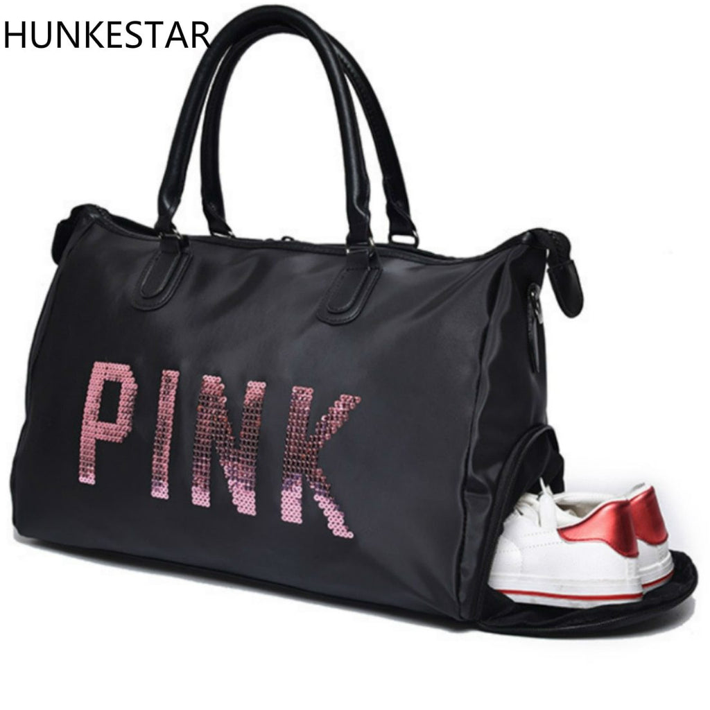 Sequins Love PINK Women Gym Bag Fitness Travel Handbag Outdoor Separate Space For Shoes Sports Women's Bag