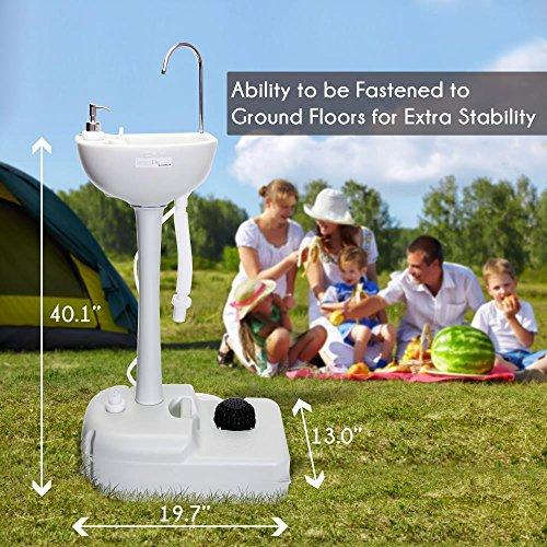 SereneLife Portable Camping Sink W/ Towel Holder & Soap Dispenser - 19L Water Capacity Hand Wash Basin Stand W/ Rolling Wheels - Perfect For Outdoor Events, Gatherings, Worksite & Camping - SLCASN18